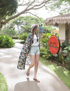 Resort style outfit with Daily About floral robe cardigan