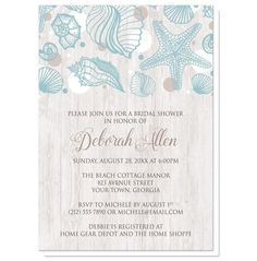 Personalized Seashell Whitewashed Wood Beach Bridal Shower Invitations. Order yours at https://www.facebook.com/BoardmanPrinting/