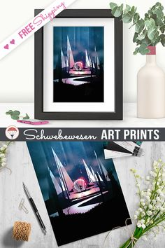 Strong Woman Art Boss Lady Girl Power Feminist Print Feminism Poster Warrior Wall Art Magical Landscape Modern Art Pink Home Decor Fantasy Art Contemporary Art Gift for mother burgundy color Prints Giclée