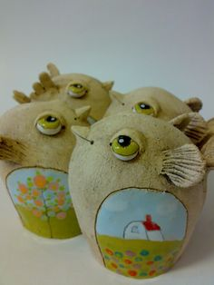 Like the eyes Pottery Animals, Ceramic Animals, Ceramics Projects, Clay Projects, Kids Clay, Ceramic Figures, Sculpture Art, Ceramic Sculptures, Polymer Clay Art