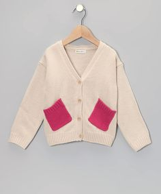 Take a look at this Cream Patch Pocket Cardigan - Toddler & Girls by Dino Bebe on #zulily today!