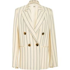 Khaite Isa Striped Double-Breasted Blazer (981.235 CLP) via Polyvore featuring outerwear, jackets, blazers, stripe, stripe blazer, floral-print blazers, print jacket, stripe jacket y double breasted jacket