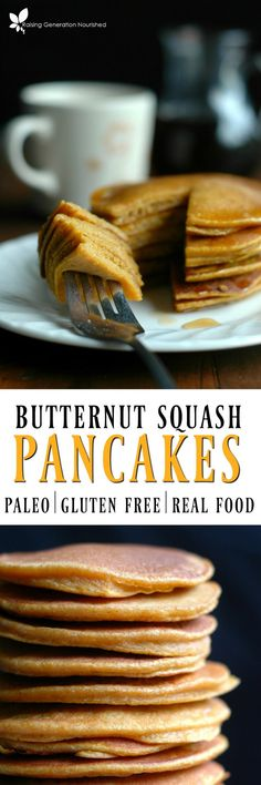 Paleo Butternut Squash Pancakes :: Gluten, Dairy, & Grain Free :: Make the perfect stack of soft and sweet butternut squash pancakes, with safe ingredients and toddler approved taste!