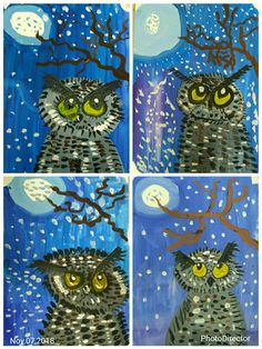 Art Lessons For Kids, Art Lessons Elementary, Art For Kids, Owl Art, Bird Art, School Painting, Winter Painting, Art Curriculum, Arts Ed