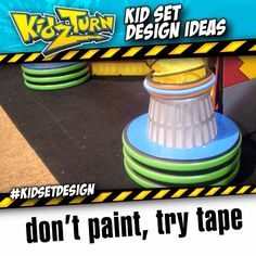Don't Paint...Try Tape. painting plastic corrugated pipe or PVC can often chip... as we tour, we've learned that sometimes you can add a splash of color quickly, just using colorful duct and electric tape. - - INSTAGRAM VIDEO - (click to play) -   for full description follow the Instagram Link - #kidsetdesign #kidmin