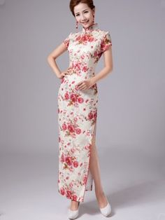 Floral Full-length Cheongsam / Qipao / Chinese Evening Dress