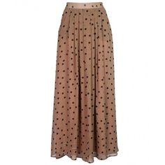 Polka Dot Pleated Chiffon Maxi Skirt (1,035 MXN) ❤ liked on Polyvore featuring skirts, flared skirt, polka dot maxi skirt, a line maxi skirt, a-line skirts and long skirts