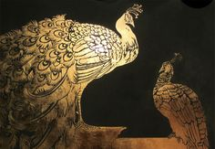 "MURAL - Peacocks in Goldleaf - Club ""Abe"" Amsterdam - VIP Lounge  - Peter Korver | Amsterdam 2013"