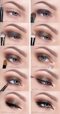 Brown and Gold Smoky Eyes Makeup Tutorial