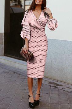 Wave Point V Collar Elegant Long Sleeve Bodycon Dress – Joygos Bodycon Dresses Uk, Casual Dresses, Fashion Dresses, Bride Dresses, Mode Outfits, Elegant Outfit, The Dress, Ladies Dress Design, Types Of Fashion Styles