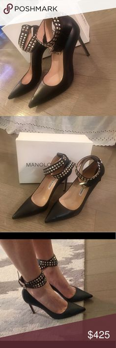 Manolo Blahnik - Black Belta Studded Ankle Pump Authentic classic black Manolo Blahnik heels with a twist! Size 39, only worn once. No scratches or scuffs on leather. 105mm heel height. Comes with original box which has tag from Neiman Marcus showing original price of $925. Don't miss out on this unique pair of Manolo Blahniks! Manolo Blahnik Shoes Heels