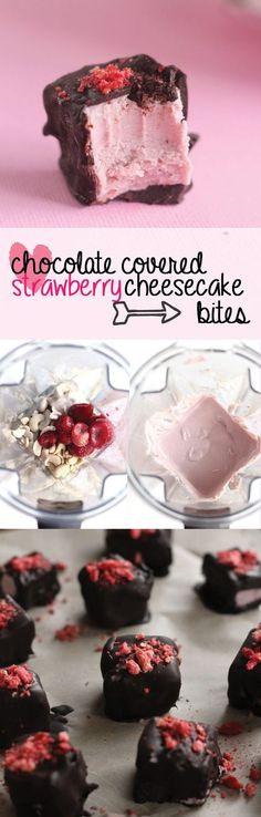vegan chocolate covered strawberry cheesecake bites | love me, feed me