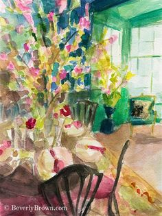 2bdc1944c83 Impressionist Watercolor Interior with Cherry Blossoms Print - Beverly  Brown Artist