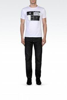 Camiseta Emporio Armani Men's Printed Cotton Crew Neck T-Shirt White M1T25JM1Q4J1903 #Camisetas #EmporioArmani