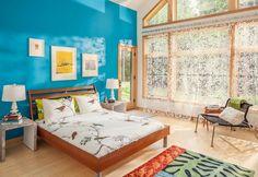 Farbe Aqua moderne Einrichtung Holzbett Teppich