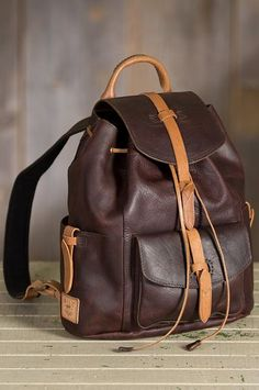 The Rainer leather backpack is crafted of robust bridle leather in a rich two-tone design that breaks-in beautifully the more you use it.