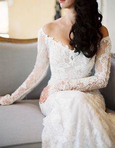 Best Wedding Dresses & Gowns Image Description Off-the-shoulder long lace sleeve wedding gown: www. 2018 Wedding Dresses Trends, Best Wedding Dresses, Designer Wedding Dresses, Bridal Dresses, Wedding Gowns, 2017 Wedding, Wedding Trends, Lace Wedding, Off Shoulder Wedding Dress