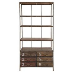 Display an array of vintage trinkets or stow entryway essentials with this wood-framed storage unit, showcasing 4 drawers, 6 shelves, and a light brown finis...