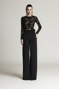 Two pieces black lace top formal pant suits with big bow long sleeves arabic evening gowns custom made plus size prom dresses d modest evening dresses muslim evening dresses from blush_wedding_dress. Muslim Evening Dresses, Evening Outfits, Evening Gowns, Formal Pant Suits, Formal Pants Women, Cocktail Attire For Women, Cheap Gowns, Plus Size Prom Dresses, Black Lace Tops