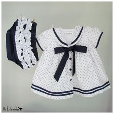 Baby Girl Dress - Baby Girl White cotton dress with navy blue stars and baby diaper cover - 2-piece set. €29.00, via Etsy.
