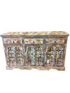 Antique Wooden Furniture Buffet Cabinet 3 Drawer 3 Door Sideboard