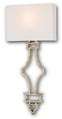 DIMENSIONS: 14w x 32h x 4d NUMBER OF LIGHTS: 1 SHADES: Off White Shantung 14/4x14/4x10 MATERIAL: Wrought Iron FINISH: Silver Granello