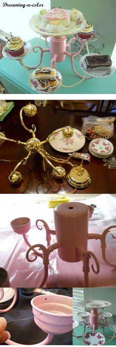 DIY :: Old Chandelier turned Dessert Tray ( http://dreaming-n-color.blogspot.ca/2011/05/trash-chandelier-turned-dessert-tray_06.html )