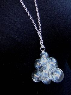 Glamorous Glass by Petra Glasova: Share my fascination with dreamy bubble glass jewellery. Clear glass bubble jewellery set containing a necklace, a bracelet and earrings. Glass Necklace, Glass Jewelry, Jewelry Sets, Glass Beads, Pendant Necklace, Jewellery, Clear Crystal, Clear Glass, Types Of Earrings