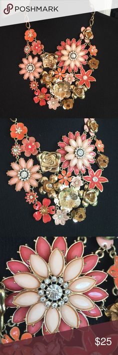 Gorgeous Peach Gold Rhinestone Statement Necklace This is crazy beautiful. I bought it because it looked like my grandmothers vintage brooch. It's truly lovely but I never wear it. KonMari all the things. I'll let this one bring you joy.  Jewelry Necklaces