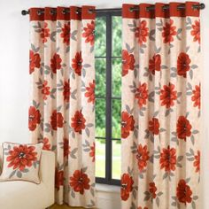 december 2016 week 1 hallways annie lined eyelet curtains 90 x 90 floral flowers red natural cream grey pair of ready made rin Ready Made Eyelet Curtains, Boho Curtains, Panel Curtains, Curtain Panels, Buy Curtains Online, Contemporary Curtains, Flower Curtain, How To Make Curtains, Curtains With Rings