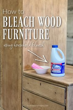 Did you know that you can bleach wood furniture with common household bleach? Try this technique and learn how to DIY this look on your next furniture makeover—an easy step-by-step tutorial. The… Raw Wood Furniture, Furniture Repair, Distressed Furniture, Paint Furniture, Furniture Makeover, Furniture Projects, Wood Projects, Hand Painted Dressers, Bleached Wood