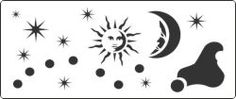 Sun and Night Sky stencils for decorating children's rooms.