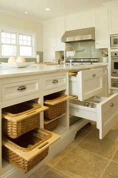 Bakes and Company: Kitchen with floor to ceiling creamy white shaker cabinets paired with marble ...
