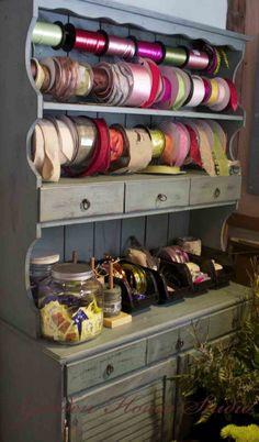 Love this hutch for craft storage #ribbon #missmustardseedmilkpaint