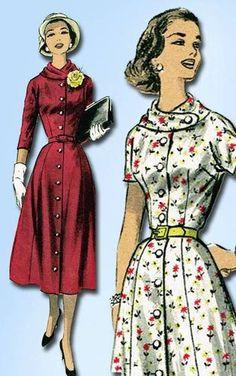 1950s Gorgeous Dress Pattern Cool Collar Unused Advance Design Size 34 Bust | eBay