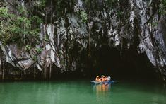 The Puerto Princesa Underground River is on the Philippine Island of Palawan, and leads into a cave that you can take boat tours through