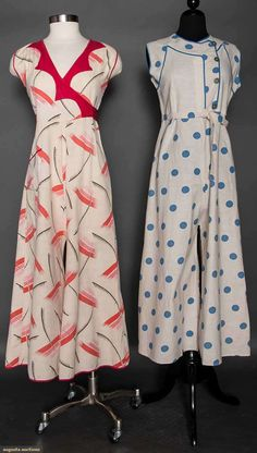 TWO LADIES' BEACH PAJAMA SETS, 1930s Both off white printed cotton, 1-piece, sleeveless & w/ wide legs & tie-belts: 1 blue dotted & 1 w/ pink, red & black print More