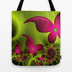 Fantasy Neon Flowers Fractal Tote Bag by gabiw Art.