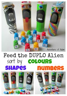 A great sorting activity for toddlers and preschoolers.Feed the Duplo Alien. Sort by colours, shapes and numbers