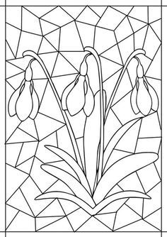 Flower Coloring Pages, Coloring Book Pages, Stained Glass Patterns, Mosaic Patterns, Spring Art, Spring Crafts, Flower Crafts, Mosaic Art, Spring Flowers