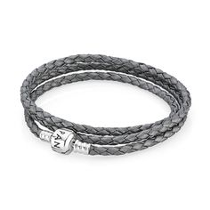 Pandora Grey Triple Braided Leather Bracelet