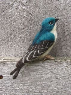 Tree Swallow needle felted bird by Ainigmati on Etsy, $65.00