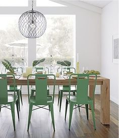 Crate And Barrel Ming Green Side Chair, Hoyne Pendant Lamp, Big Sur Dining  Table