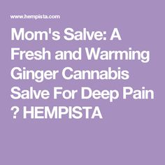 Mom's Salve: A Fresh and Warming Ginger Cannabis Salve For Deep Pain ⋆ HEMPISTA