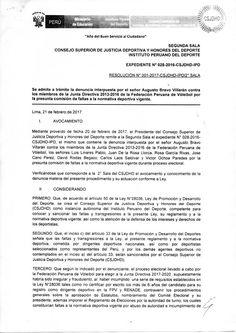 CONSEJO SUPERIOR DE JUSTICIA Y HONORES DEL DEPORTE - 2° SALA ADMITE A TRÁMITE LA DENUNCIA INTERPUESTA POR AUGUSTO BRAVO VILLARÁN  CONTRA LA FEDERACIÓN