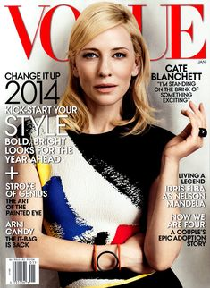 Landing her fifth cover for Vogue US, Australian actress Cate Blanchett looks ready for the new season in a printed top and jewelry from Celine's spring-summer 2014 collection. The January issue of the fashion magazine was photographed by Craig McDean. Vogue Covers, Vogue Magazine Covers, Fashion Magazine Cover, Fashion Cover, Bold Fashion, Magazine Photos, Fashion Music, Fashion 2014, Hollywood Fashion