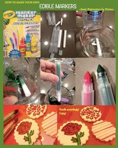 I discovered these Crayola Marker Maker refill packs while shopping with my kids. It got me so excited and bought it right away! Just rinse with vodka and use your favorite food colour. Hope this help solve the edible marker dilemna for some of...