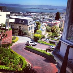 Lombard Street, San Francisco.  I love the way you can see the Bay from hilltops all over town.