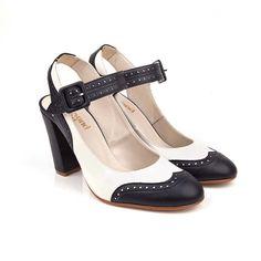 Delphine navy and ivory vegan high heel shoe | Beyond Skin
