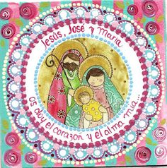 Bendita Eres Christmas Cards, Xmas, Cute Paintings, Holy Family, Virgin Mary, Art Studios, Nativity, Decoupage, Outdoor Blanket